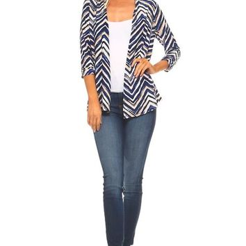 Women's 3/4 Three Quarter Zig Zag Soft Cardigan