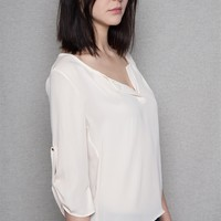 Fio Fio Chiffon Open Placket Scoop Neck Blouse With 3/4 Roll Sleeves - Oystr