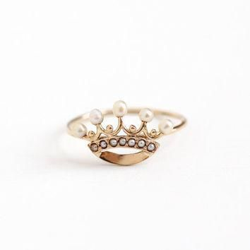 Antique 10k Rosy Yellow Gold Pearl Crown Ring - Size 7 1/4 Vintage 1900s Edwardian Que