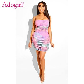 Adogirl Plus Size S-3XL Tie Dye Print Fishnet Summer Dress Fluorescence Color Spaghetti Straps Bodycon Mini Club Party Dresses