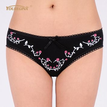 YOUREGINA Sexy G String Thong Ladies Underwear Women Seamless Panties Cotton Floral Print Woman Briefs Lingerie Knickers 1 piece