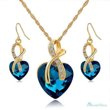 Gold Plated Jewelry Set - Crystal Heart