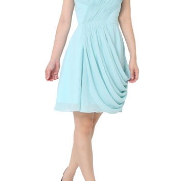 DAVIKA Sweetheart Neckline with Draped Skirt Blue