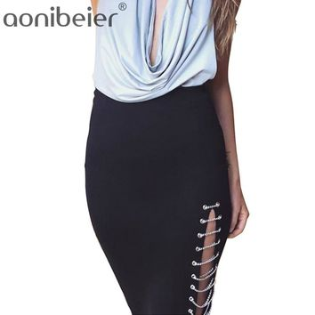 Side Hollow Out Metal Chain Bandage Knee-Length Skirt