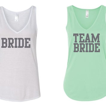 """BRIDE"" & ""Team Bride"" V Neck Tank Top- Bachelorette-Party-Shirts White and Mint"