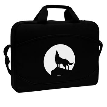"Wolf Howling at the Moon - Design #1 15"" Dark Laptop / Tablet Case Bag by TooLoud"