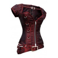 CD-831 - Red and Black Striped Corset with Detachable Belt and Jacket-MADE TO ORDER