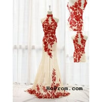 Red Halter Lace Prom Dresses Prom Dress Lace Red Evening Dress
