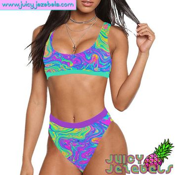 ACID OIL SLICK High Waisted Bikini Ibiza Style Rave Outfit Rave Bra Bikini Top Hippie Clothes Sexy Bikini Rave Wear Two Piece Swimsuit