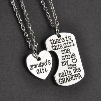 Grandpa Granddaughter Necklace