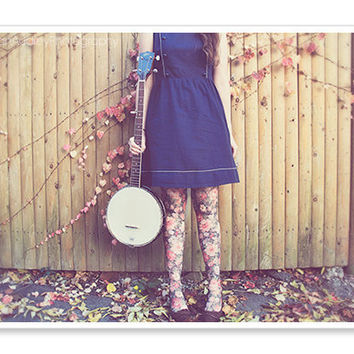 Banjo Player Portrait Photography / 5x7 / Fashion Photograph / Feminine Floral / Spring Art / pastel dreamy / brown blue pink
