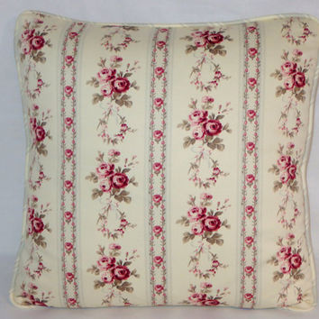 """Wallpaper Floral Stripe Throw Pillow Reversible Polka Dot PInk Ivory Pale Grey 17"""" Cotton Square Welted Ready Ship Cover and Insert"""