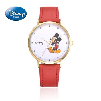 Disney Mickey mouse children boys girls leather quartz casual wristwatch students watches waterproof brown red pink blue