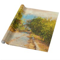 Green Leaves Walking Path Painting Wrapping Paper