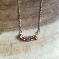 Gold Necklace, Dainty Necklace, Teardrop Necklace, Gold Jewelry, Peach Necklace, Fall Charm Necklace, 17 Inch Necklace