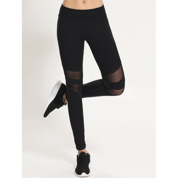 Stretchy Mesh Patchwork Sporty Leggings