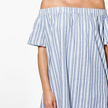 Tanya Off The Shoulder Stripe Shift Dress | Boohoo