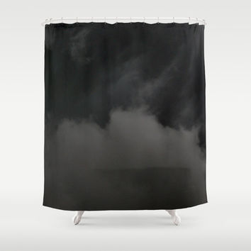 Shower Curtain, Black Storm Clouds Bathroom Tub Curtain, Darkness Rising, Gothic Macabre Halloween Chic Decor, Vanity Bath Privacy Curtain