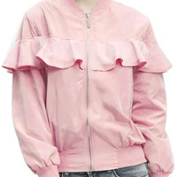 Solid Zipper Bomber Jacket with Flounce