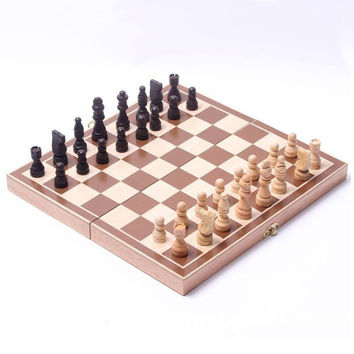 Funny Folding wooden chess piece high-grade grid International checkers Chess Set Board Game Sports Entertainment 34*34cm