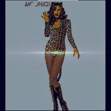 MOONIGHT 2017 New Halloween crazy cat ladies conjoined sexy bodysuits long sleeves leopard sexy costumes sexy lingerie Catwoman