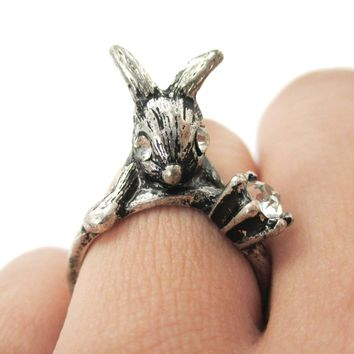 Adorable Bunny Rabbit Shaped Animal Inspired Ring in Silver with Rhinestones | US Size 6