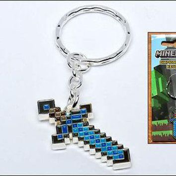 Minecraft Diamond Sword Metal Replica Gamer Keychain KeyRing Officially Licensed