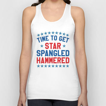 Time to Get Star Spangled Hammered - 4th of July Unisex Tank Top by CreativeAngel