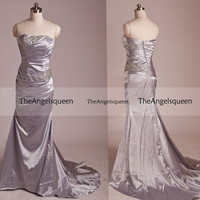 Pageant Mermaid Silver Strapless Long Prom evening Gowns with Train,Bridesmaid dresses,senior dress,evening dresses