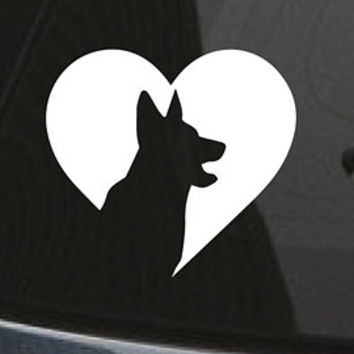 Husky Dog Heart Decal Dog Breed Custom Car Decal
