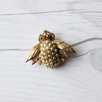 Vintage Hobe Signed Gold Toned and Faux Pearl Bug Brooch Pin | Costume Jewelry
