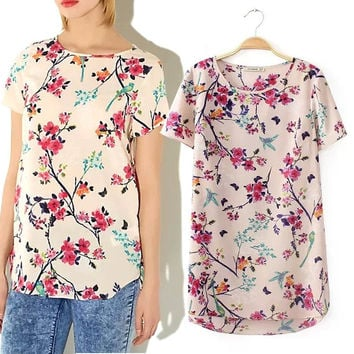 Summer Women's Fashion Print Short Sleeve Tops T-shirts [6047502785]