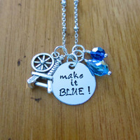 "Disney's ""Sleeping Beauty"" Inspired Necklace. Fairy Merryweather. Good Fairy. Make it BLUE! Silver colored, Swarovski crystals."