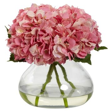 Silk Flowers -Large Pink Blooming Hydrangea With Vase Artificial Plant