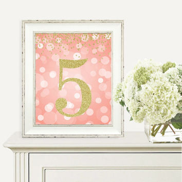 Number 5, 5th Birthday Party, Fifth Birthday, Coral and Gold Glitter, Printable Party Decorations, Digital Print, 2nd Birthday Party Sign
