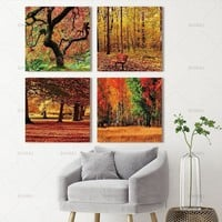 Art picture canvas painting wall art picture printed On Canvas Orange Tree Picture Living Room Decor Landscape Painting No Frame