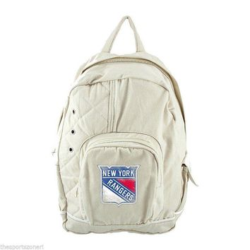 New York Rangers Distressed Logo Natural Old School Backpack