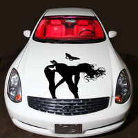 Vinyl Decal Sticker for Car Hood  fits any Auto Vehicle Tempting Girl with Butterflies TK244  In 25 Colors