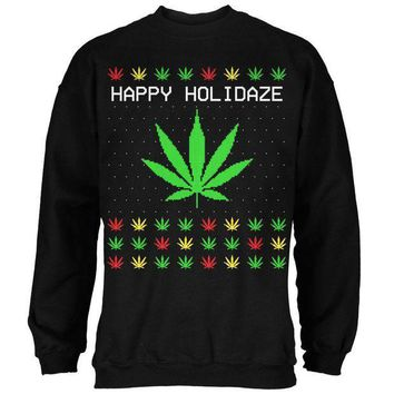 ESBGQ9 Pot Leaf Rasta Happy Holidaze Holidays Ugly Christmas Sweater Mens Sweatshirt