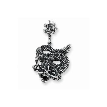 Sterling Silver Antiqued Dragon Pendant