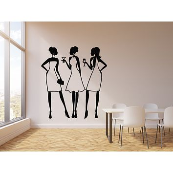 Vinyl Wall Decal Beauty Girls Coctail Party Invitation Drink Bar Night Club Stickers Mural (g1082)