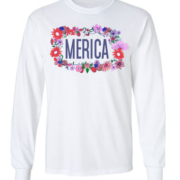 'Merica Floral Crown Long Sleeve Tee