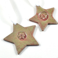 Christmas Ornament Handmade Ceramic Tree Decoration on White Satin Ribbon Gift Tag Rustic Star Red Set of Two Holiday Decor
