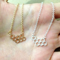 Honeycomb necklace. unique necklace. cute necklace. dainty jewelry. simple gift