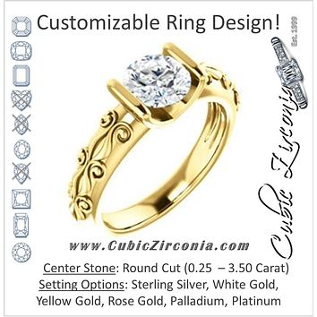 Cubic Zirconia Engagement Ring- The Cora (Customizable Bar-set Round Cut featuring Organic Carved Band)