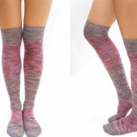 Pastel Block Knitted Thigh High Knee High Socks - Mix