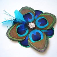TUSCANY - Peacock Feather Fascinator - Turquoise and Cobalt Blue | HeadbandShoppe - Wedding on ArtFire
