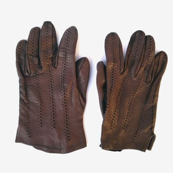 Brown leather gloves soft leather gloves genuine leather gloves soviet leather gloves womans leather gloves Christmas gift winter gloves
