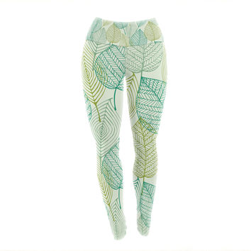 "KESS Original ""Make Like A Tree"" Green Pattern Yoga Leggings"