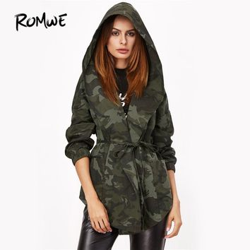 ROMWE Camo Print Hooded Autumn Jacket Olive Green Women Shawl Collar Print Wrap Coat 2018 Long Sleeve Casual Tie Waist Jacket